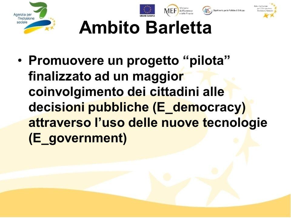 Ambito Barletta Promuovere un progetto pilota finalizzato ad un maggior coinvolgimento dei cittadini alle decisioni pubbliche (E_democracy) attraverso luso delle nuove tecnologie (E_government)