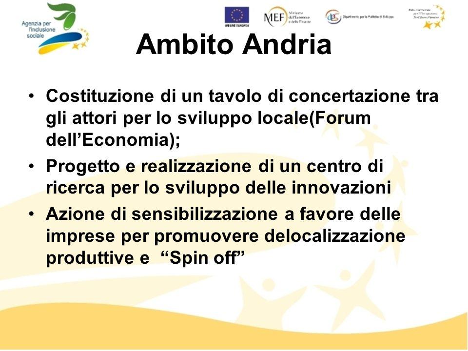 Ambito Andria Costituzione di un tavolo di concertazione tra gli attori per lo sviluppo locale(Forum dellEconomia); Progetto e realizzazione di un centro di ricerca per lo sviluppo delle innovazioni Azione di sensibilizzazione a favore delle imprese per promuovere delocalizzazione produttive e Spin off