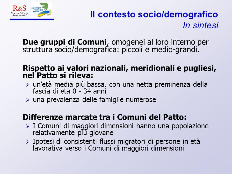 Il contesto socio/demografico In sintesi Due gruppi di Comuni, omogenei al loro interno per struttura socio/demografica: piccoli e medio-grandi. Rispe