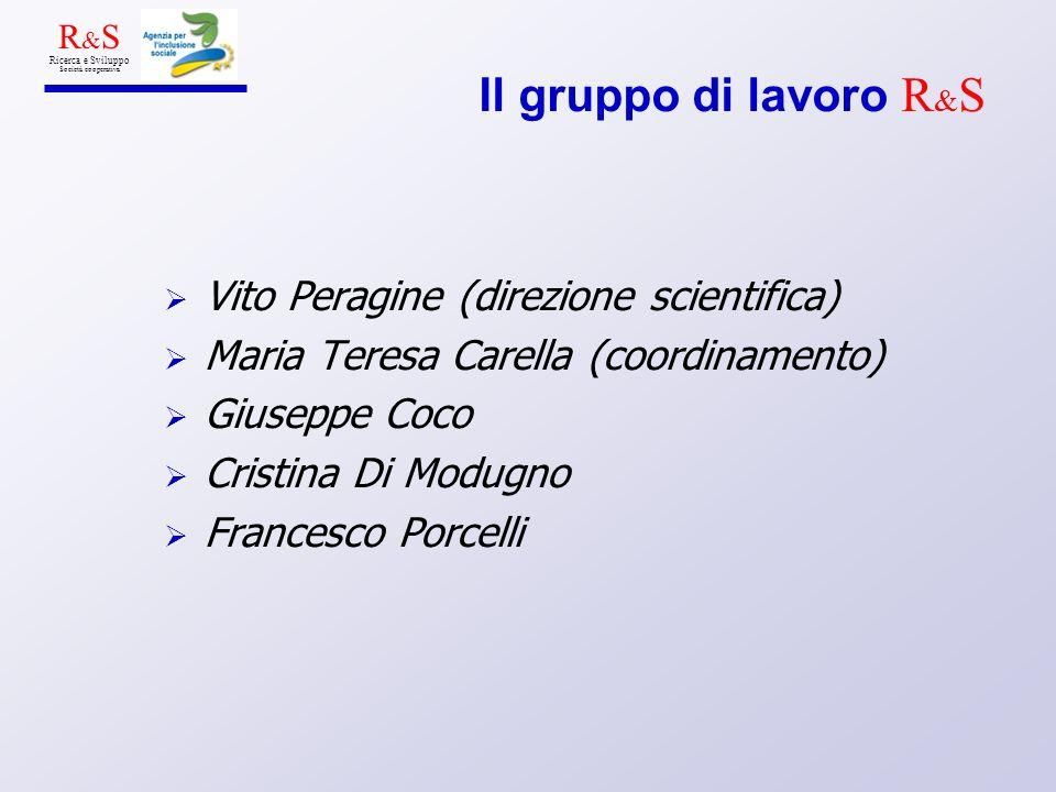 Il gruppo di lavoro R & S Vito Peragine (direzione scientifica) Maria Teresa Carella (coordinamento) Giuseppe Coco Cristina Di Modugno Francesco Porce