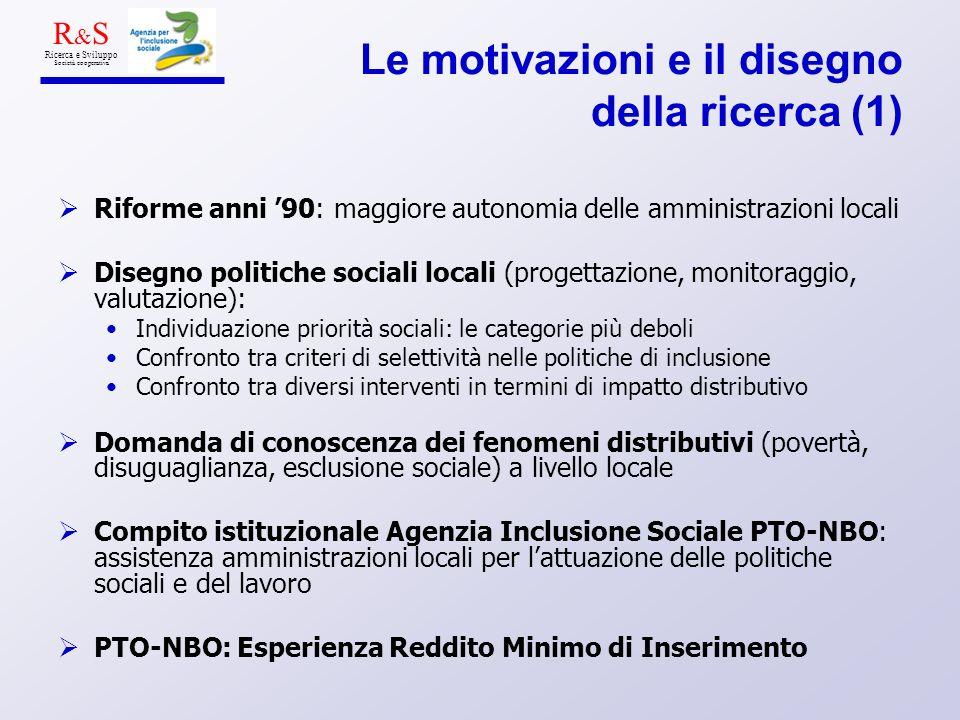 Le motivazioni e il disegno della ricerca (1) Riforme anni 90: maggiore autonomia delle amministrazioni locali Disegno politiche sociali locali (proge