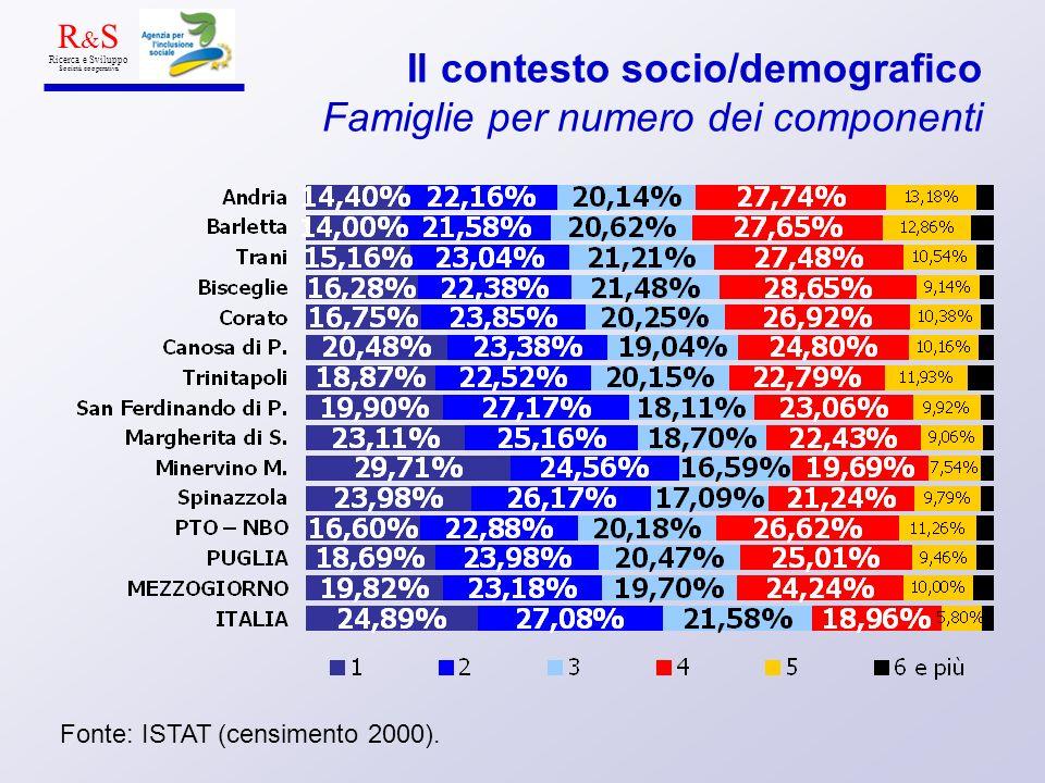 Il contesto socio/demografico Famiglie per numero dei componenti Fonte: ISTAT (censimento 2000). R & S Ricerca e Sviluppo Società cooperativa