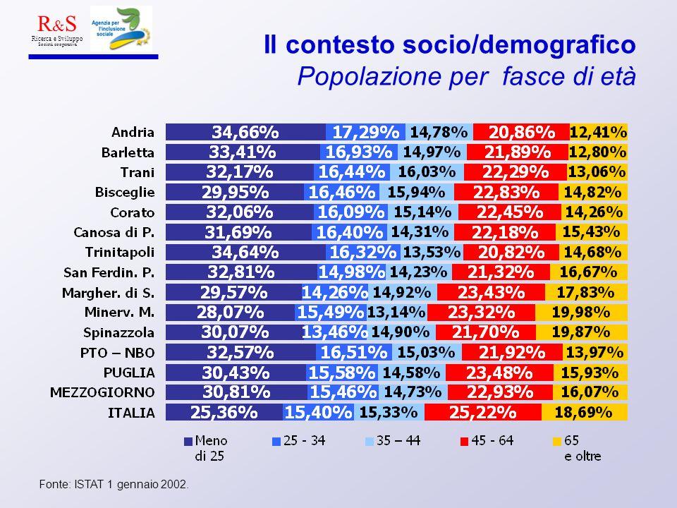Il contesto socio/demografico Popolazione per fasce di età Fonte: ISTAT 1 gennaio 2002. R & S Ricerca e Sviluppo Società cooperativa