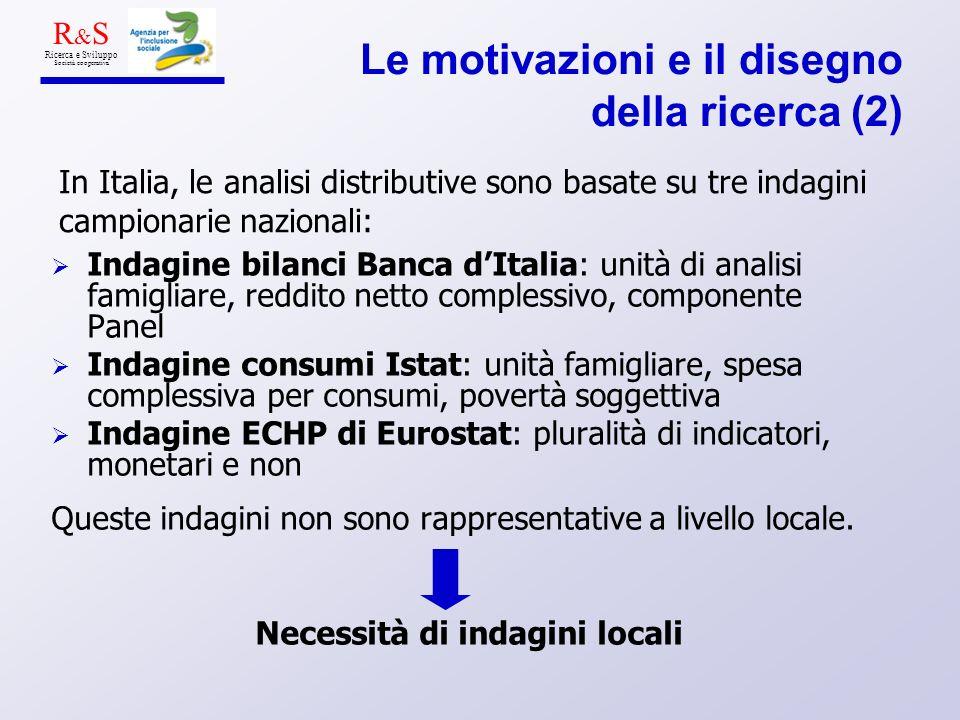 Le motivazioni e il disegno della ricerca (2) Indagine bilanci Banca dItalia: unità di analisi famigliare, reddito netto complessivo, componente Panel