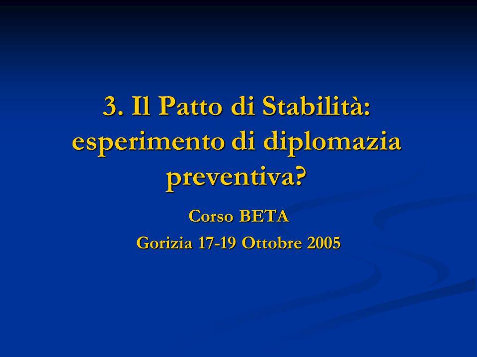 3. Il Patto di Stabilità: esperimento di diplomazia preventiva? Corso BETA Gorizia 17-19 Ottobre 2005