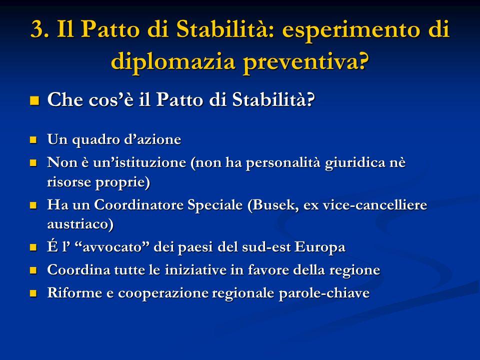 3. Il Patto di Stabilità: esperimento di diplomazia preventiva? Che cosè il Patto di Stabilità? Che cosè il Patto di Stabilità? Un quadro dazione Un q