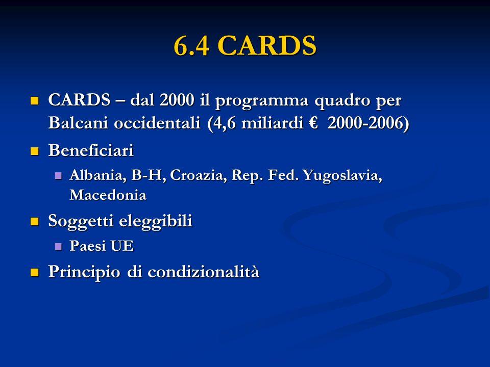 6.4 CARDS CARDS – dal 2000 il programma quadro per Balcani occidentali (4,6 miliardi 2000-2006) CARDS – dal 2000 il programma quadro per Balcani occidentali (4,6 miliardi 2000-2006) Beneficiari Beneficiari Albania, B-H, Croazia, Rep.