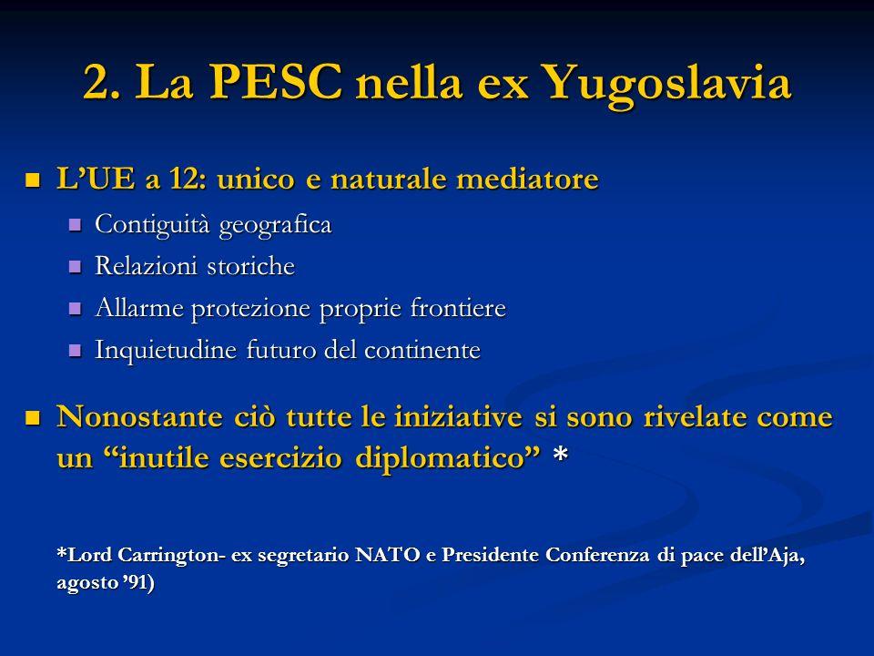 2. La PESC nella ex Yugoslavia LUE a 12: unico e naturale mediatore LUE a 12: unico e naturale mediatore Contiguità geografica Contiguità geografica R