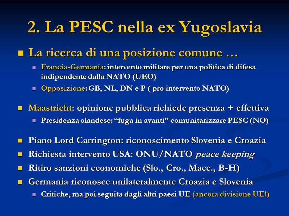 2. La PESC nella ex Yugoslavia La ricerca di una posizione comune … La ricerca di una posizione comune … Francia-Germania: intervento militare per una