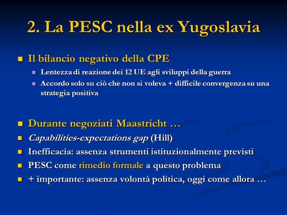 2. La PESC nella ex Yugoslavia Il bilancio negativo della CPE Il bilancio negativo della CPE Lentezza di reazione dei 12 UE agli sviluppi della guerra