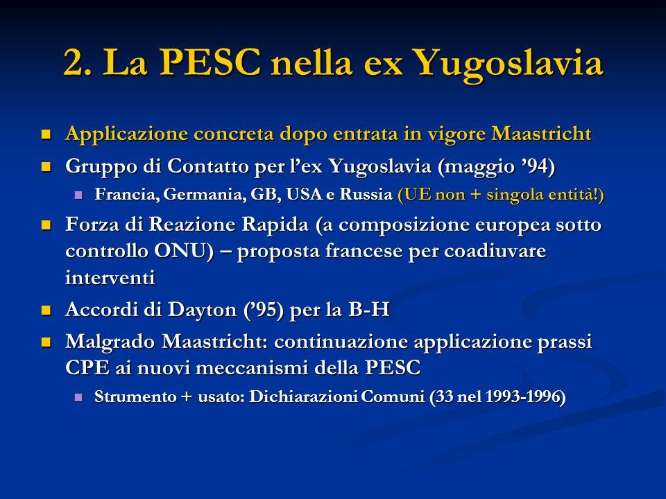 2. La PESC nella ex Yugoslavia Applicazione concreta dopo entrata in vigore Maastricht Applicazione concreta dopo entrata in vigore Maastricht Gruppo