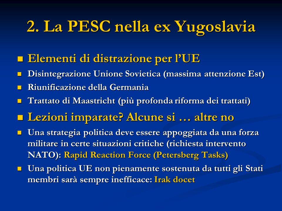 2. La PESC nella ex Yugoslavia Elementi di distrazione per lUE Elementi di distrazione per lUE Disintegrazione Unione Sovietica (massima attenzione Es