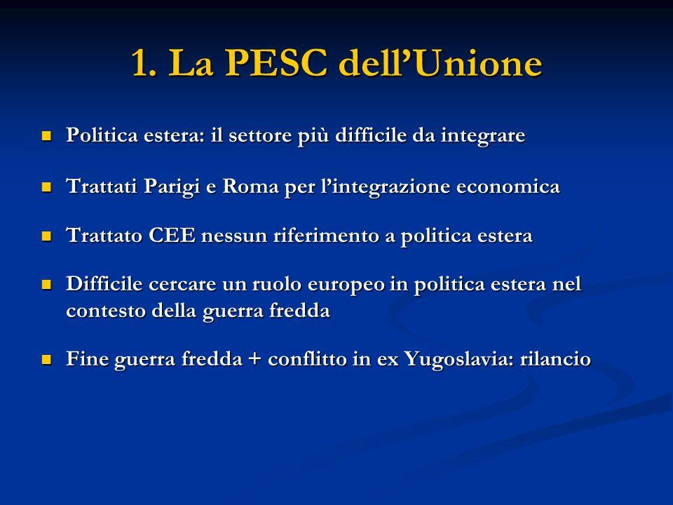 1. La PESC dellUnione Politica estera: il settore più difficile da integrare Politica estera: il settore più difficile da integrare Trattati Parigi e