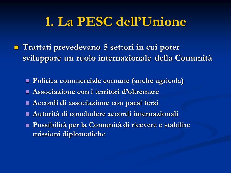 1. La PESC dellUnione Trattati prevedevano 5 settori in cui poter sviluppare un ruolo internazionale della Comunità Trattati prevedevano 5 settori in