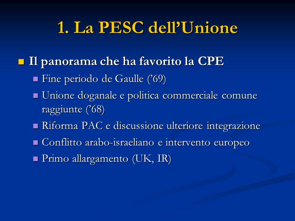 1. La PESC dellUnione Il panorama che ha favorito la CPE Il panorama che ha favorito la CPE Fine periodo de Gaulle (69) Fine periodo de Gaulle (69) Un
