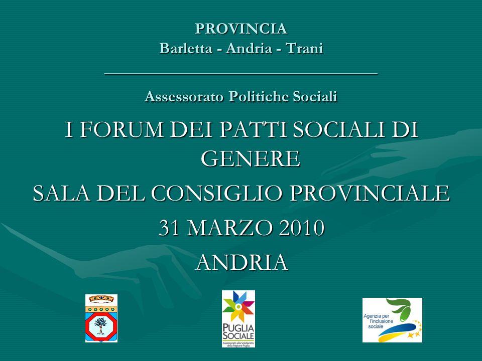 PROVINCIA Barletta - Andria - Trani __________________________________ Assessorato Politiche Sociali I FORUM DEI PATTI SOCIALI DI GENERE SALA DEL CONSIGLIO PROVINCIALE 31 MARZO 2010 ANDRIA