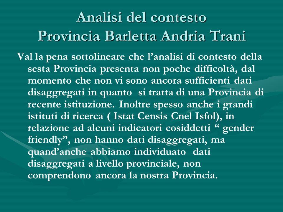 Analisi del contesto Provincia Barletta Andria Trani Val la pena sottolineare che lanalisi di contesto della sesta Provincia presenta non poche difficoltà, dal momento che non vi sono ancora sufficienti dati disaggregati in quanto si tratta di una Provincia di recente istituzione.