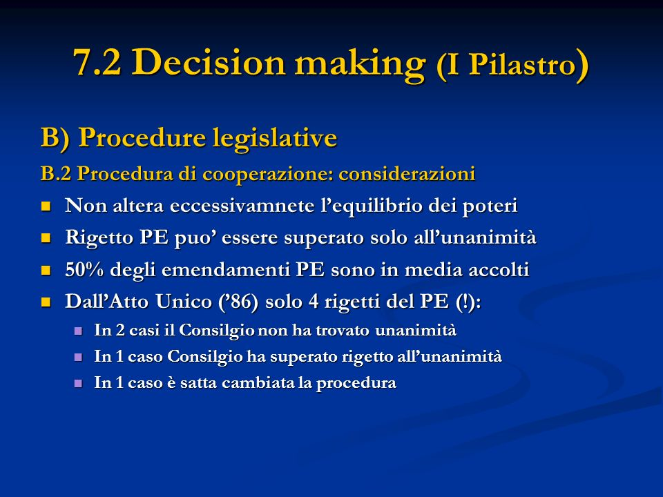 7.2 Decision making (I Pilastro ) B) Procedure legislative B.2 Procedura di cooperazione: considerazioni Non altera eccessivamnete lequilibrio dei pot