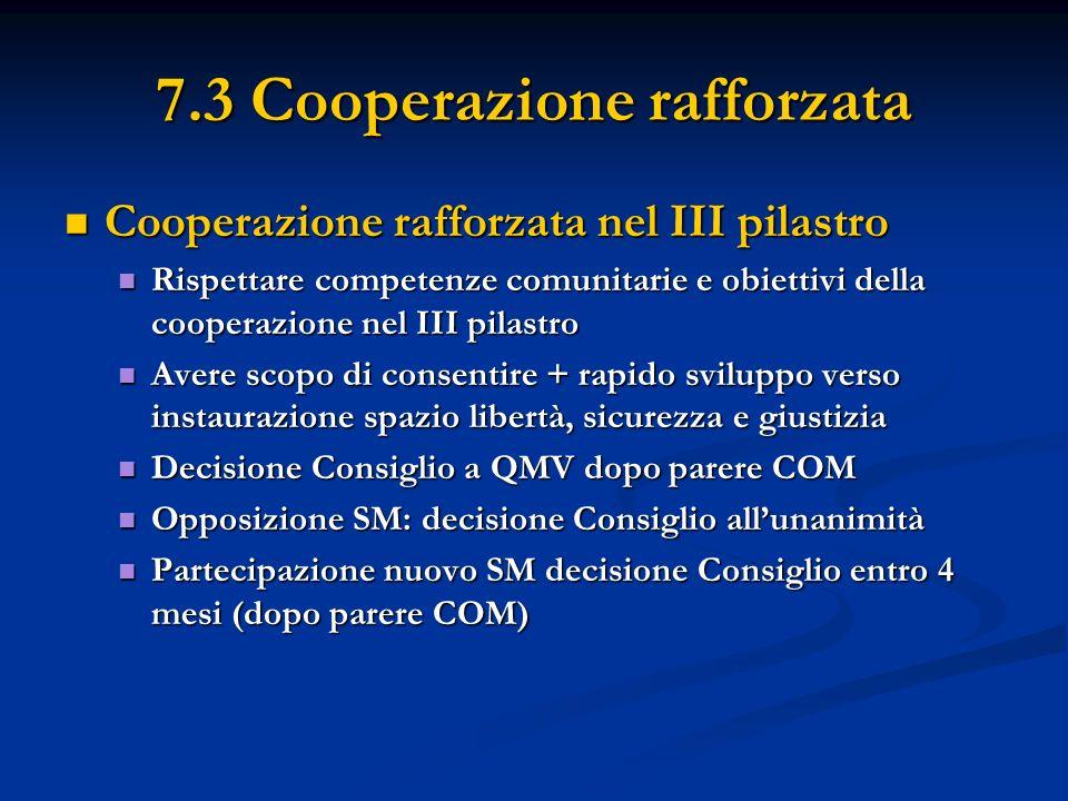 7.3 Cooperazione rafforzata Cooperazione rafforzata nel III pilastro Cooperazione rafforzata nel III pilastro Rispettare competenze comunitarie e obiettivi della cooperazione nel III pilastro Rispettare competenze comunitarie e obiettivi della cooperazione nel III pilastro Avere scopo di consentire + rapido sviluppo verso instaurazione spazio libertà, sicurezza e giustizia Avere scopo di consentire + rapido sviluppo verso instaurazione spazio libertà, sicurezza e giustizia Decisione Consiglio a QMV dopo parere COM Decisione Consiglio a QMV dopo parere COM Opposizione SM: decisione Consiglio allunanimità Opposizione SM: decisione Consiglio allunanimità Partecipazione nuovo SM decisione Consiglio entro 4 mesi (dopo parere COM) Partecipazione nuovo SM decisione Consiglio entro 4 mesi (dopo parere COM)
