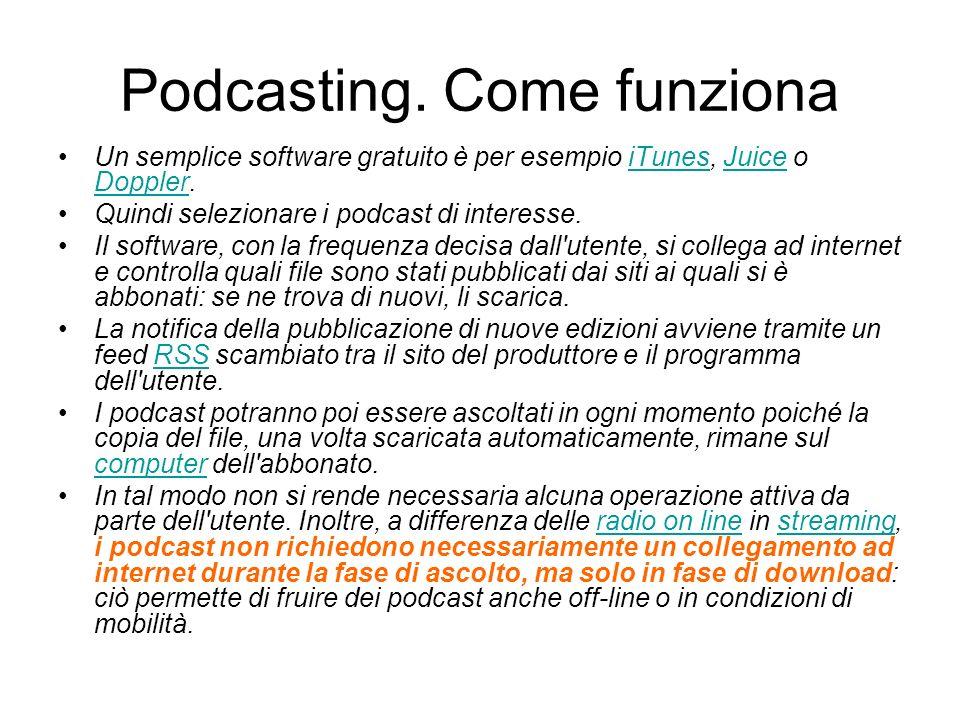 Podcasting. Come funziona Un semplice software gratuito è per esempio iTunes, Juice o Doppler.iTunesJuice Doppler Quindi selezionare i podcast di inte