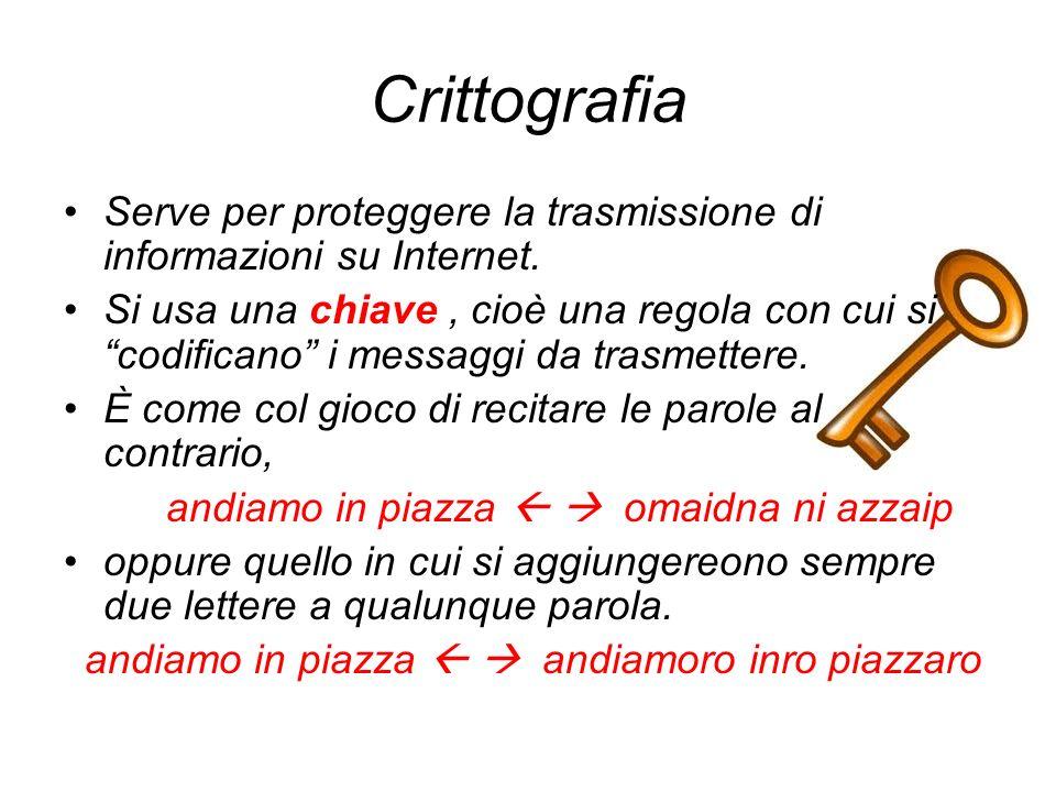 Crittografia Serve per proteggere la trasmissione di informazioni su Internet. Si usa una chiave, cioè una regola con cui si codificano i messaggi da