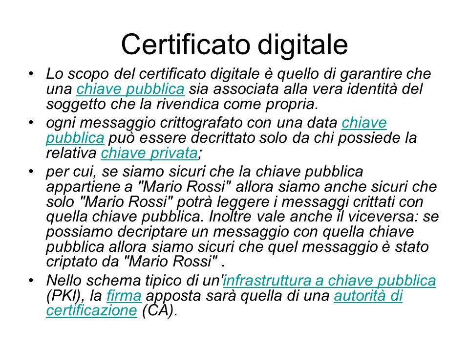 Certificato digitale Lo scopo del certificato digitale è quello di garantire che una chiave pubblica sia associata alla vera identità del soggetto che