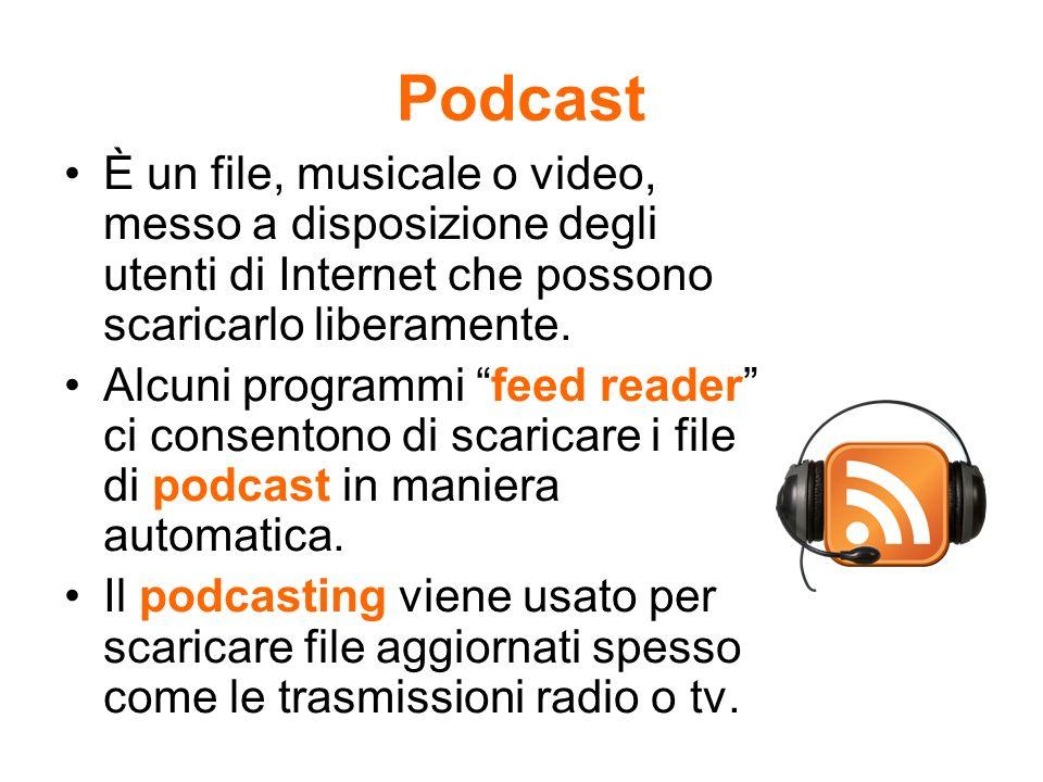 Podcast È un file, musicale o video, messo a disposizione degli utenti di Internet che possono scaricarlo liberamente. Alcuni programmi feed reader ci