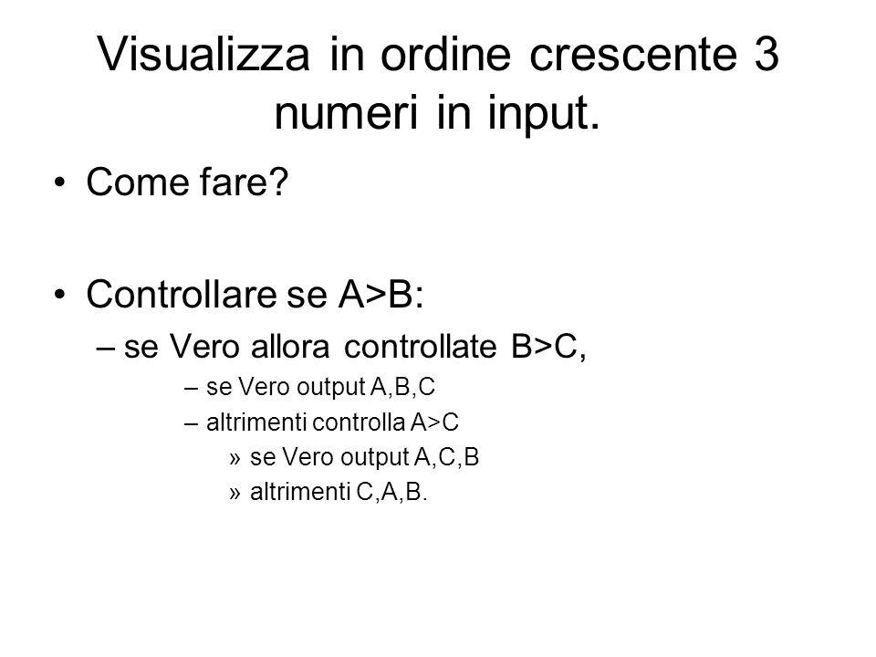 Visualizza in ordine crescente 3 numeri in input. Come fare? Controllare se A>B: –se Vero allora controllate B>C, –se Vero output A,B,C –altrimenti co