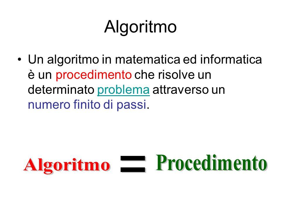 Algoritmo Un algoritmo in matematica ed informatica è un procedimento che risolve un determinato problema attraverso un numero finito di passi.problem