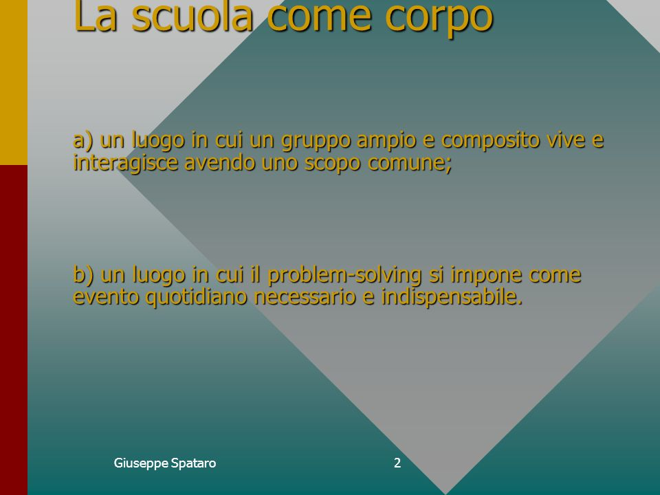 Giuseppe Spataro1 CORSO DI FORMAZIONE E AGGIORNAMENTO IN PRESENZA.