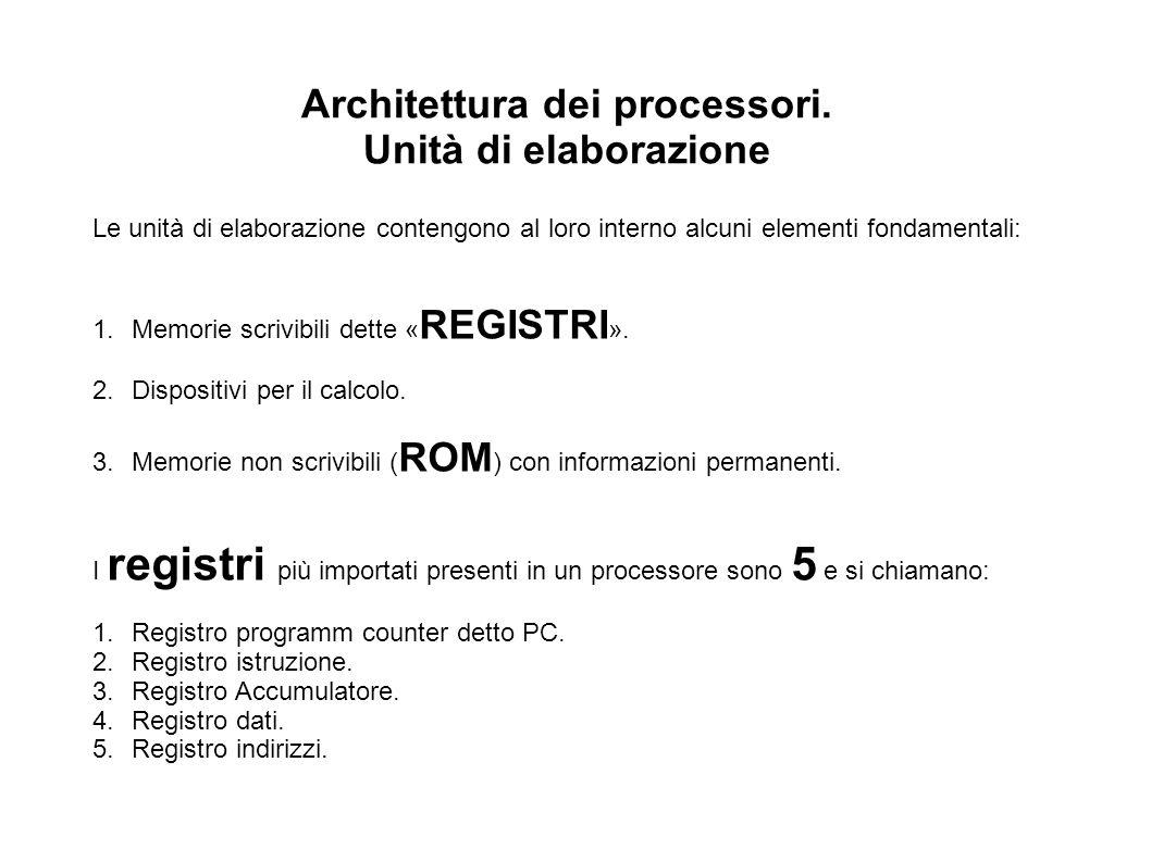 Architettura dei processori. Unità di elaborazione Le unità di elaborazione contengono al loro interno alcuni elementi fondamentali: 1.Memorie scrivib