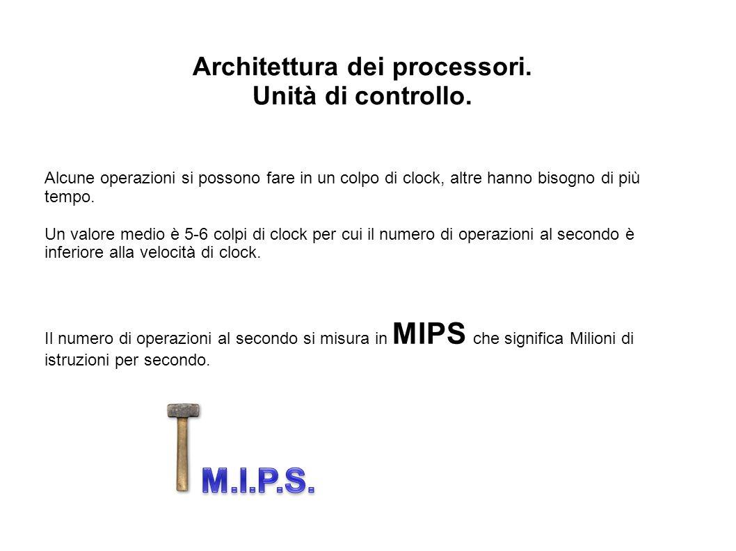 Architettura dei processori. Unità di controllo. Alcune operazioni si possono fare in un colpo di clock, altre hanno bisogno di più tempo. Un valore m