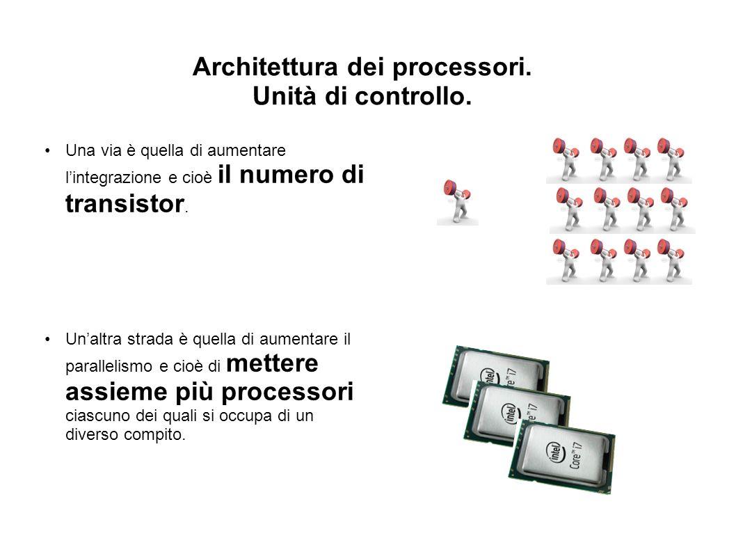 Architettura dei processori. Unità di controllo. Una via è quella di aumentare lintegrazione e cioè il numero di transistor. Unaltra strada è quella d