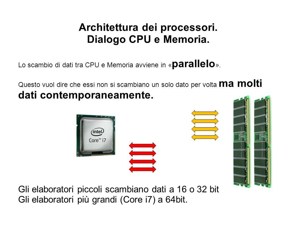 Architettura dei processori. Dialogo CPU e Memoria. Lo scambio di dati tra CPU e Memoria avviene in « parallelo ». Questo vuol dire che essi non si sc