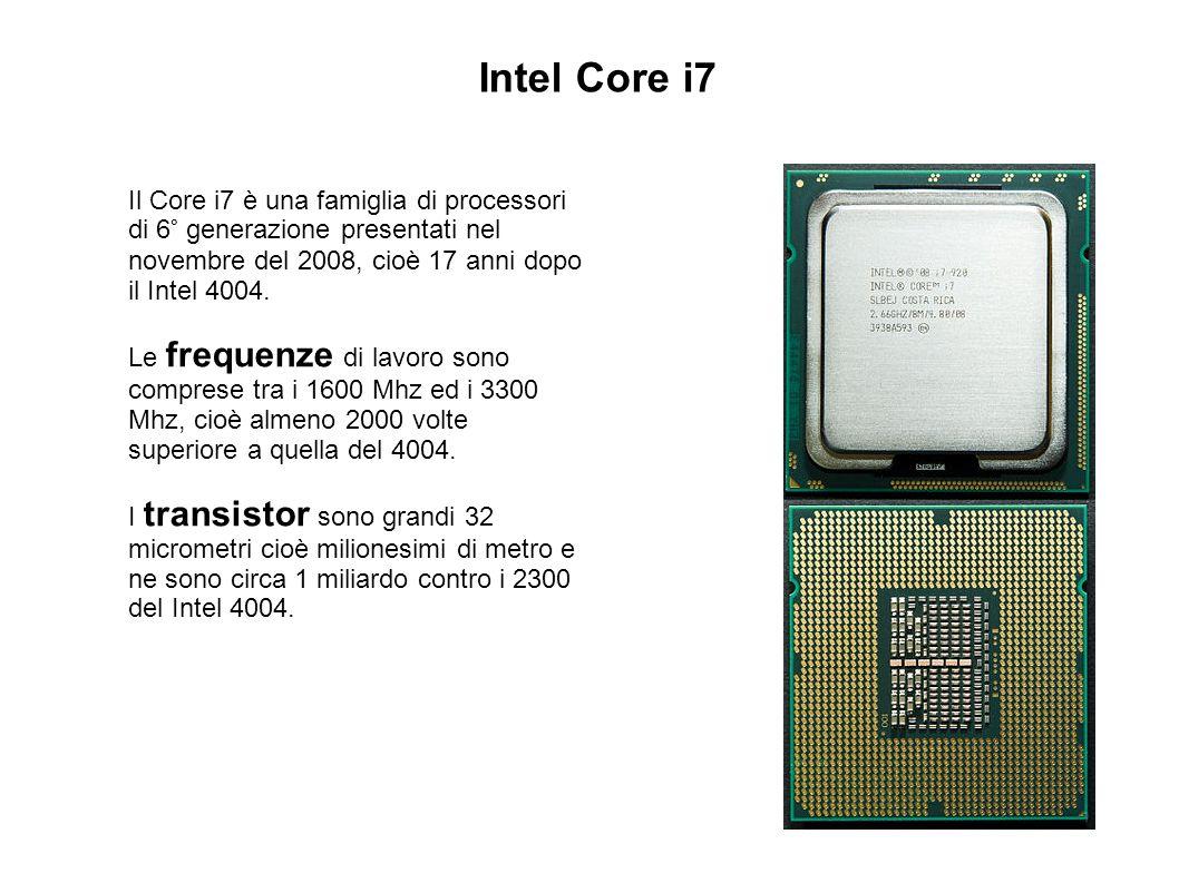 Intel Core i7 Il Core i7 è una famiglia di processori di 6° generazione presentati nel novembre del 2008, cioè 17 anni dopo il Intel 4004. Le frequenz