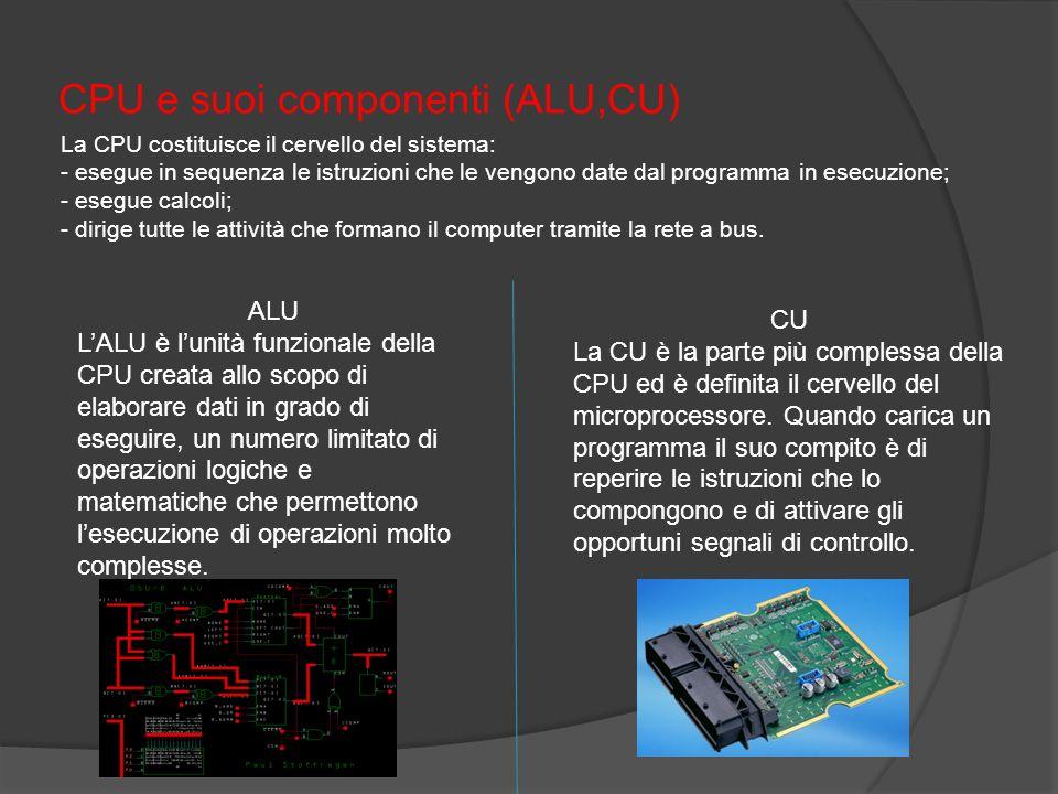 CPU e suoi componenti (ALU,CU) La CPU costituisce il cervello del sistema: - esegue in sequenza le istruzioni che le vengono date dal programma in ese