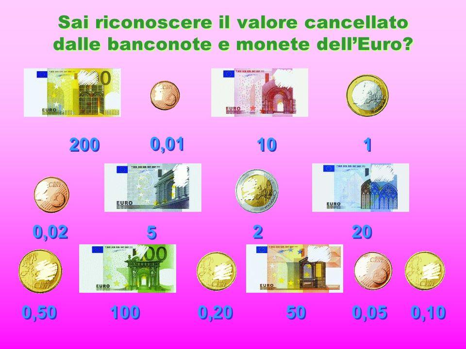 Sai riconoscere il valore cancellato dalle banconote e monete dellEuro.