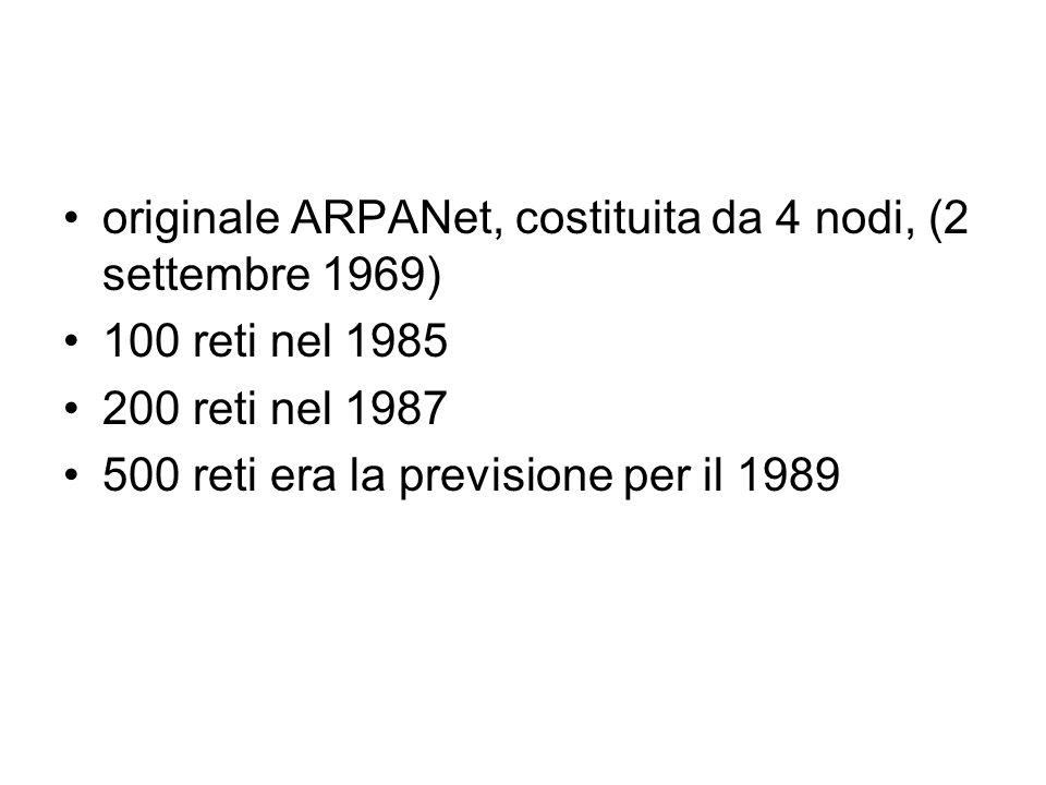 originale ARPANet, costituita da 4 nodi, (2 settembre 1969) 100 reti nel 1985 200 reti nel 1987 500 reti era la previsione per il 1989