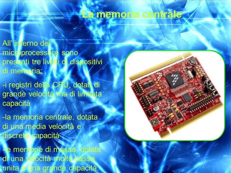 La memoria centrale All interno del microprocessore sono presenti tre livelli di dispositivi di memoria: -i registri della CPU, dotati di grande veloc