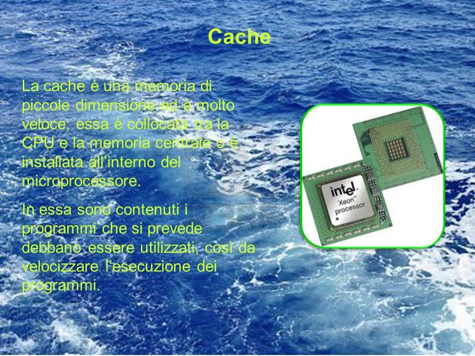 Cache La cache è una memoria di piccole dimensione ed è molto veloce; essa è collocata tra la CPU e la memoria centrale o è installata allinterno del