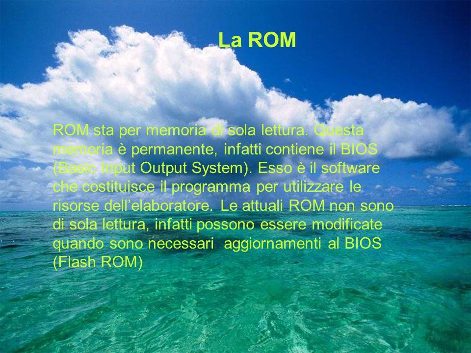 La ROM ROM sta per memoria di sola lettura. Questa memoria è permanente, infatti contiene il BIOS (Basic Input Output System). Esso è il software che