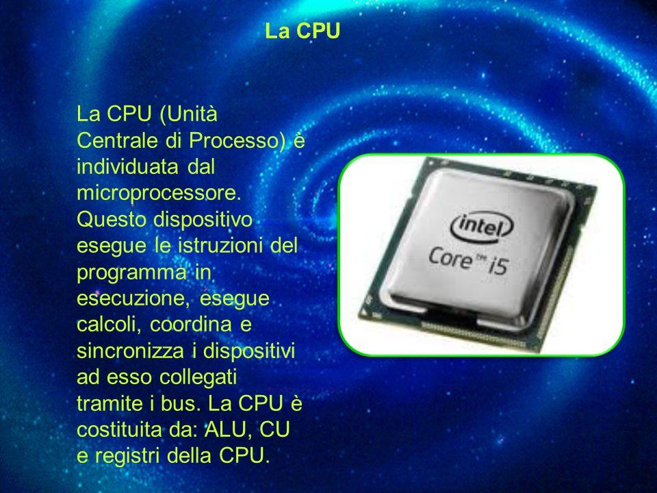 La CPU La CPU (Unità Centrale di Processo) è individuata dal microprocessore. Questo dispositivo esegue le istruzioni del programma in esecuzione, ese