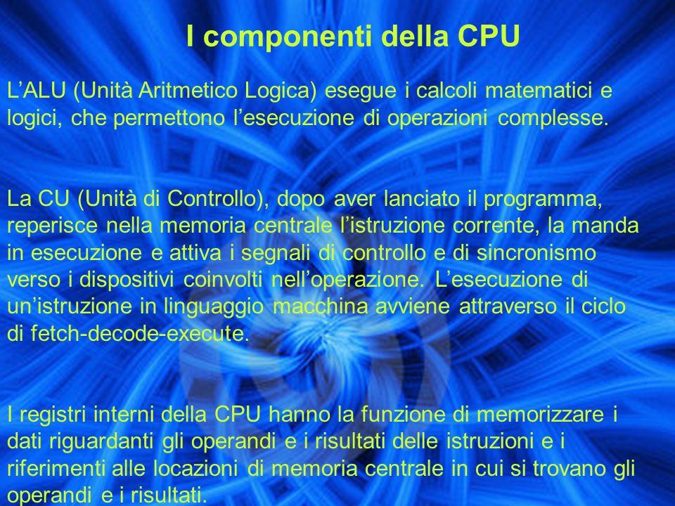 I componenti della CPU LALU (Unità Aritmetico Logica) esegue i calcoli matematici e logici, che permettono lesecuzione di operazioni complesse. La CU