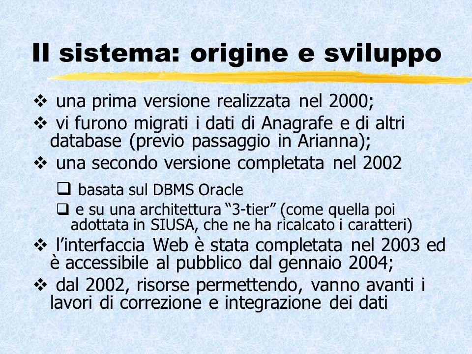 Il sistema: origine e sviluppo una prima versione realizzata nel 2000; vi furono migrati i dati di Anagrafe e di altri database (previo passaggio in Arianna); una secondo versione completata nel 2002 basata sul DBMS Oracle e su una architettura 3-tier (come quella poi adottata in SIUSA, che ne ha ricalcato i caratteri) linterfaccia Web è stata completata nel 2003 ed è accessibile al pubblico dal gennaio 2004; dal 2002, risorse permettendo, vanno avanti i lavori di correzione e integrazione dei dati