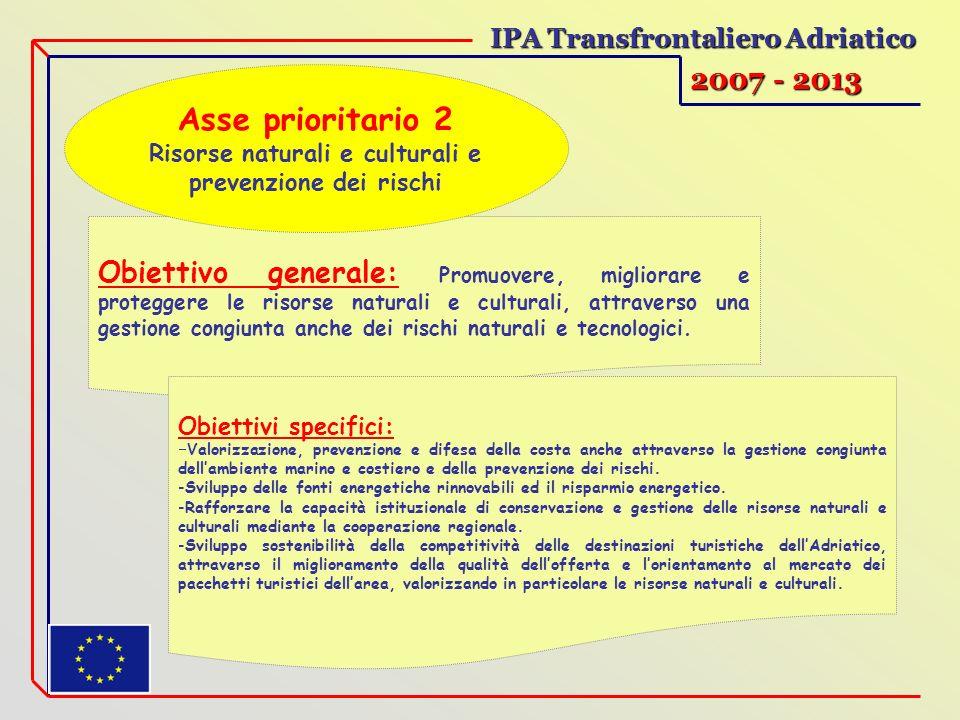 IPA Transfrontaliero Adriatico 2007 - 2013 Obiettivo generale: Promuovere, migliorare e proteggere le risorse naturali e culturali, attraverso una ges