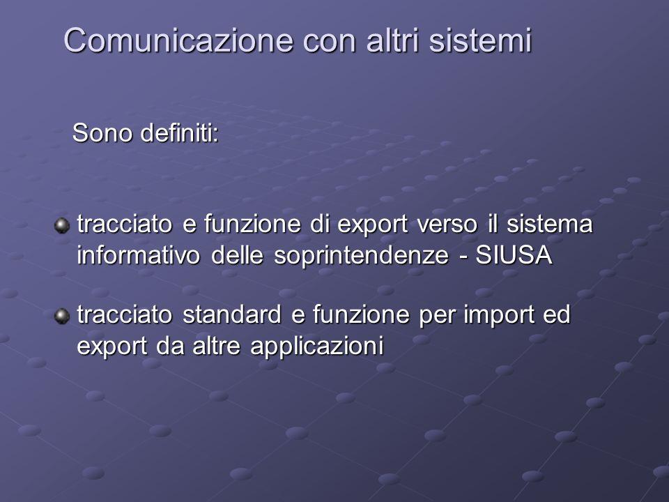 Comunicazione con altri sistemi tracciato e funzione di export verso il sistema informativo delle soprintendenze - SIUSA tracciato standard e funzione