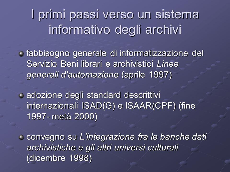 I primi passi verso un sistema informativo degli archivi fabbisogno generale di informatizzazione del Servizio Beni librari e archivistici Linee gener