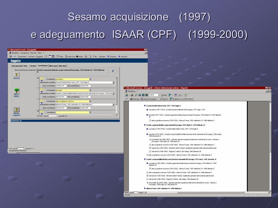 I primi passi verso un sistema informativo degli archivi analisi del sistema AMICUS (2001) presentazione e studio del progetto SIUSA (10 maggio 2002) pubblicazione nel portale Trentinocultura degli inventari (settembre 2003-) delle pergamene on-line (luglio 2004-)