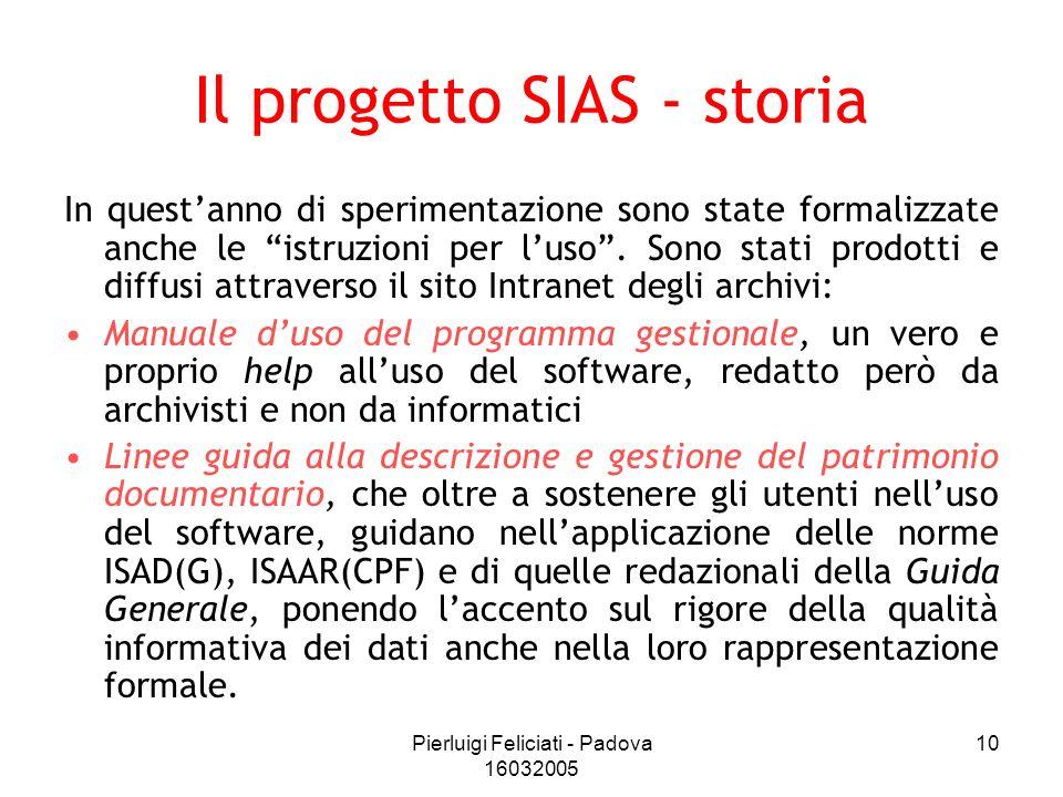 Pierluigi Feliciati - Padova 16032005 10 Il progetto SIAS - storia In questanno di sperimentazione sono state formalizzate anche le istruzioni per lus
