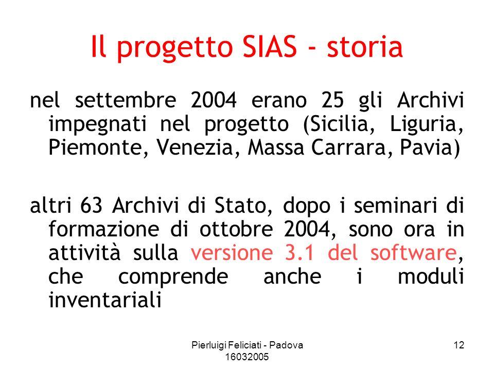 Pierluigi Feliciati - Padova 16032005 12 Il progetto SIAS - storia nel settembre 2004 erano 25 gli Archivi impegnati nel progetto (Sicilia, Liguria, P